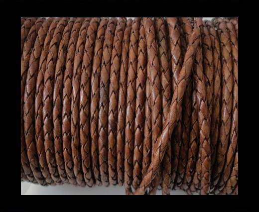 Round Braided Leather Cord SE/PB/10-Walnut - 4mm