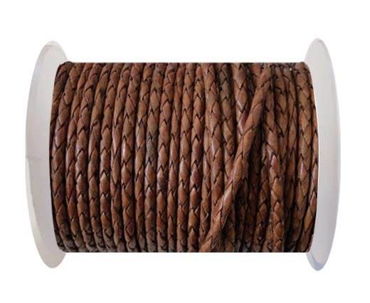 Round Braided Leather Cord SE/PB/10-Walnut - 4mm