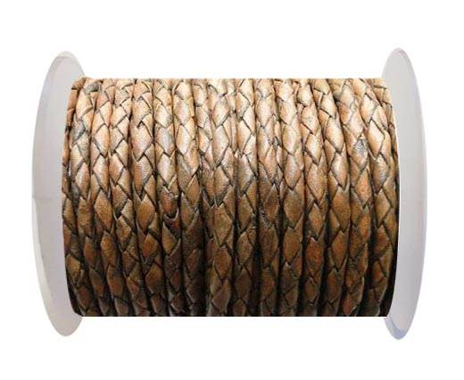 Round Braided Leather Cord SE/PB/11-Antique Brown - 6mm