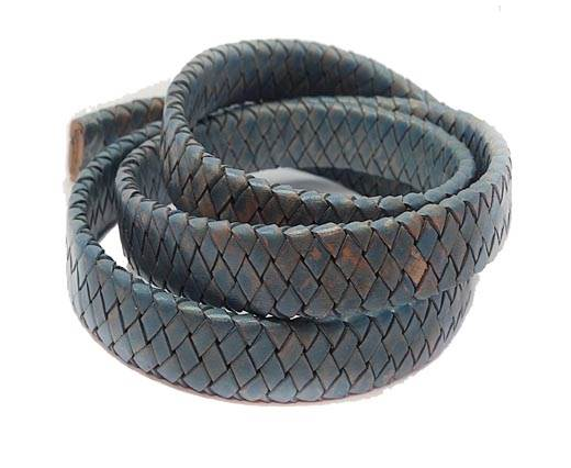 Oval Braided Leather Cord-15.5 by 4.5mm-SE PB 15
