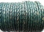 Round Braided Leather Cord SE/PB/15-Vintage Aqua Green - 4mm