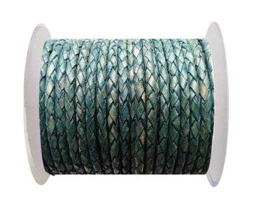Round Braided Leather Cord SE/PB/15-Vintage Aqua Green - 4mm