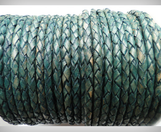 Round Braided Leather Cord SE/PB/15-Vintage Aqua Green - 6mm