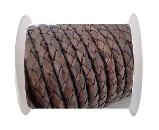 Round Braided Leather Cord SE/PB/17-Vintage Dark Brown-4mm