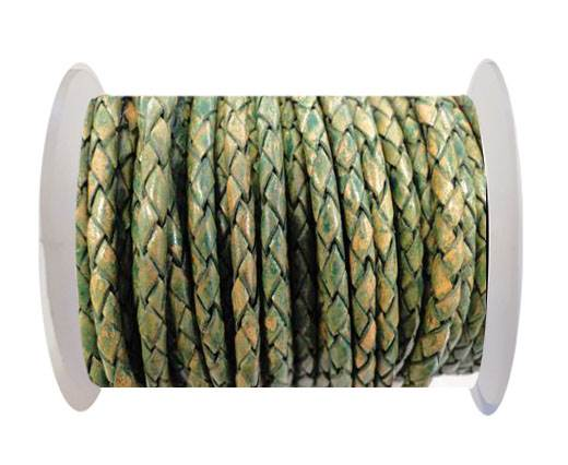 Round Braided Leather Cord SE/PB/18-Vintage Green - 5mm