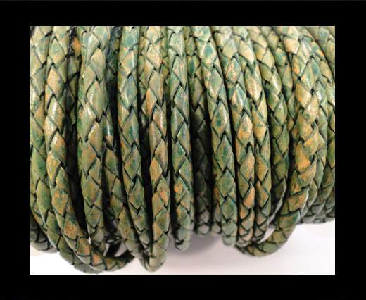Round Braided Leather Cord SE/PB/18-Vintage Green - 4mm