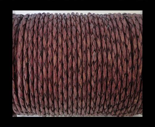 Round Braided Leather Cord SE/PB/21-Vintage Maroon - 3mm