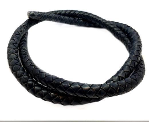 Round Braided Leather Cord - 12mm - SE_PB_ Vintage blue