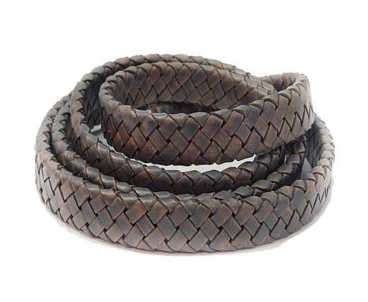 Oval Braided Leather Cord-15.5 by 4.5mm-SE PB  DARK GREY