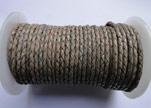 Round Braided Leather Cord SE/PB/Vintage Grey - 4mm
