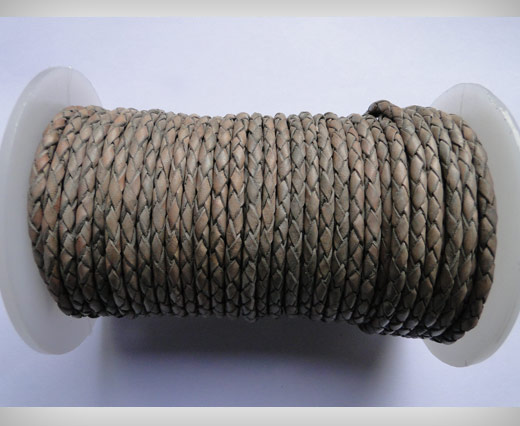 Round Braided Leather Cord SE/PB/Vintage Grey - 4mm