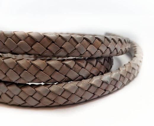 Round Braided Leather Cord - 12mm - SE_PB Light grey