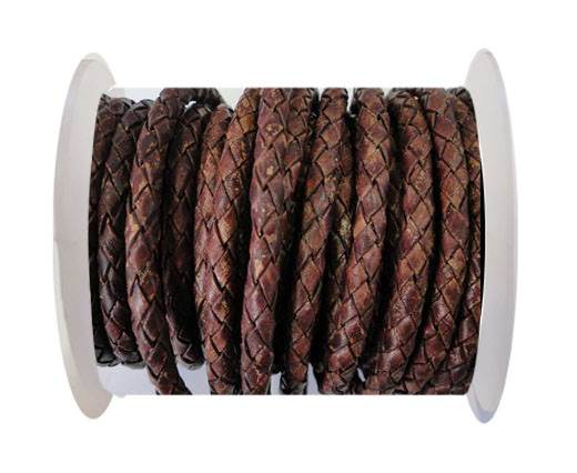 Round Braided Leather Cord SE/PB/Vintage Copper - 4mm
