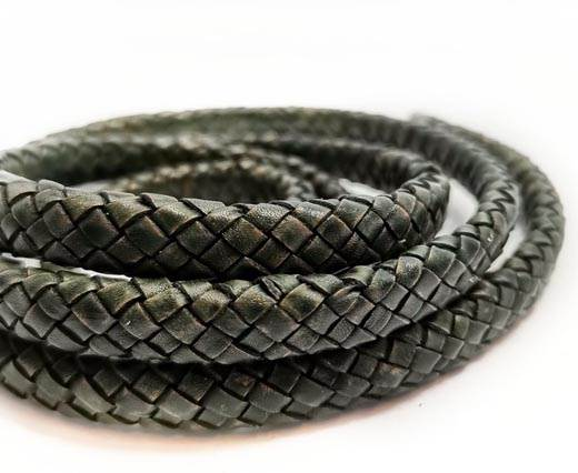 Round Braided Leather Cord - 12mm - SE_PB Vintage Green