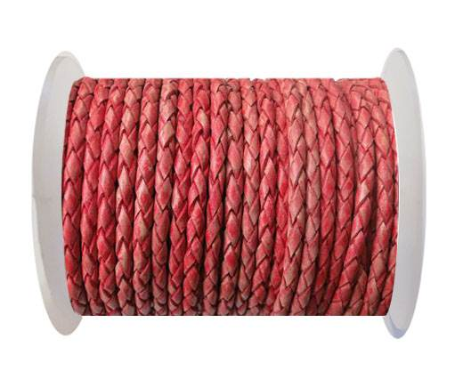 Round Braided Leather Cord SE/PB/Vintage Red-5mm