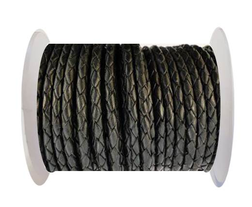 Buy Round Braided Leather Cord SE/B/02-Black - 3mm at wholesale prices