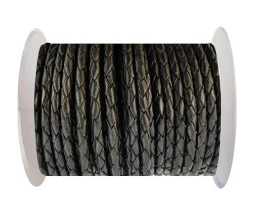 Round Braided Leather Cord SE/B/02-Black - 4mm