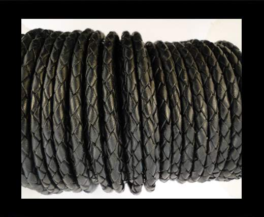 Buy Round Braided Leather Cord SE/B/02-Black - 8mm at wholesale prices