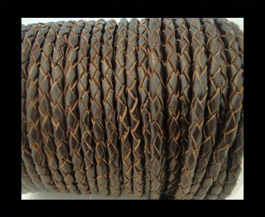 Round Braided Leather Cord SE/R/03-Brown-natural egdes-4mm