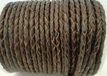 Round Braided Leather Cord SE/R/03-Brown-natural egdes-5mm