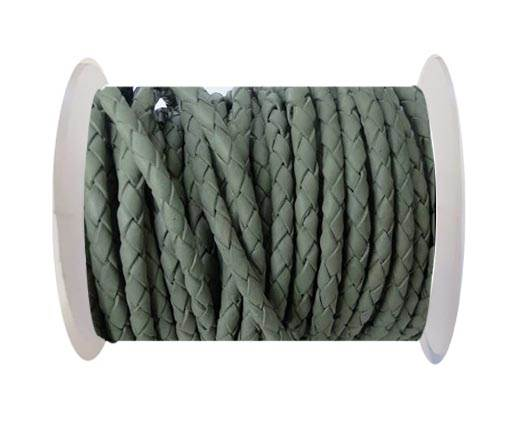 Round Braided Leather Cord SE/R/28-Military Green-5mm