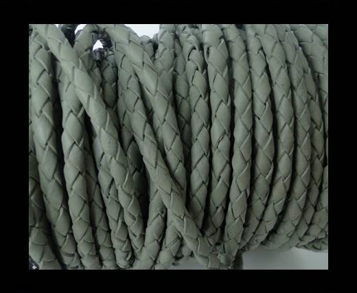 Round Braided Leather Cord SE/R/28-Military Green-8mm