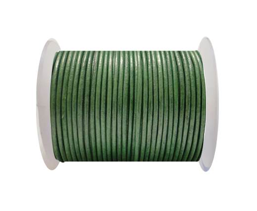 Round Leather Cord SE/R/Metallic Apple Green - 2mm