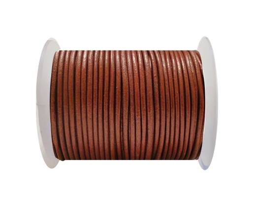 Round Leather Cord SE/R/Metallic Bordeaux- 2mm
