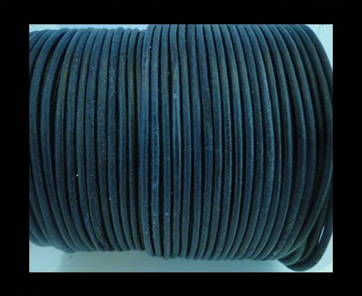 Round Leather Cord SE/R/Matt Finish-Blue -3mm