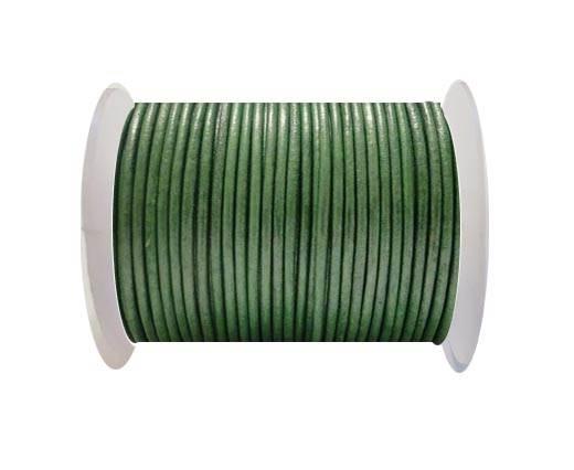 Round Leather Cord SE/R/Metallic Apple Green - 1,5mm
