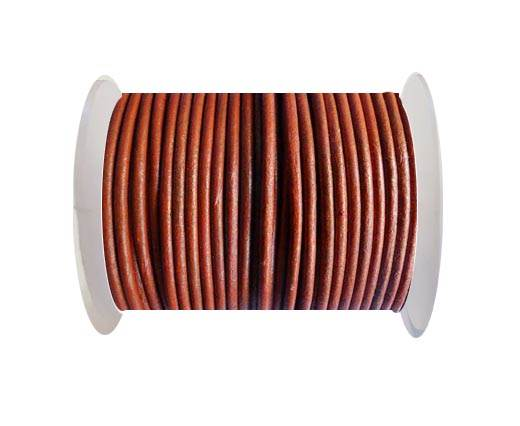 Round Leather Cord SE/R/Metallic Cinnamon - 1,5mm