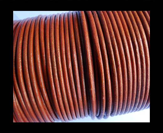 Round Leather Cord SE/R/Metallic Cinnamon - 3mm