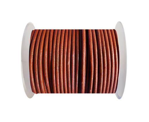 Round Leather Cord SE/R/Metallic Cinnamon -2mm