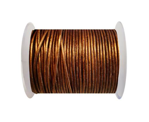Round Leather Cord SE/R/Metallic Copper - 2mm