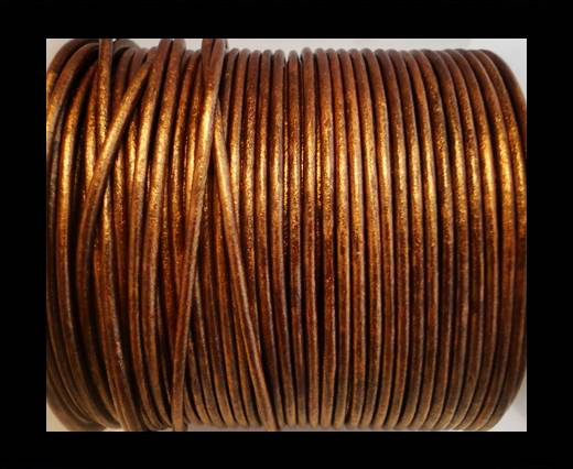 Round Leather Cord SE/R/Metallic Copper - 3mm