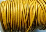 Round Leather Cord SE/R/Metallic Yellow - 3mm
