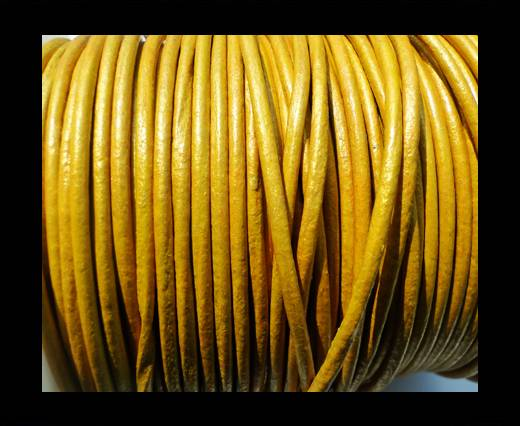 Buy Round Leather Cord SE/R/Metallic Yellow -2mm at wholesale prices