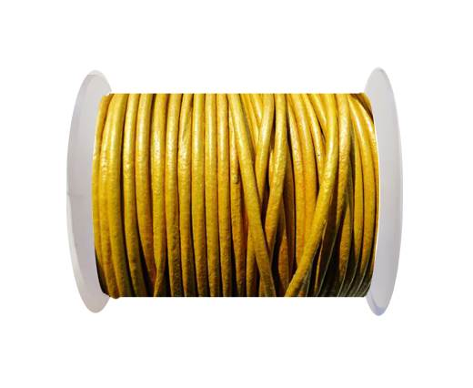 Round Leather Cord SE/R/Metallic Yellow -2mm