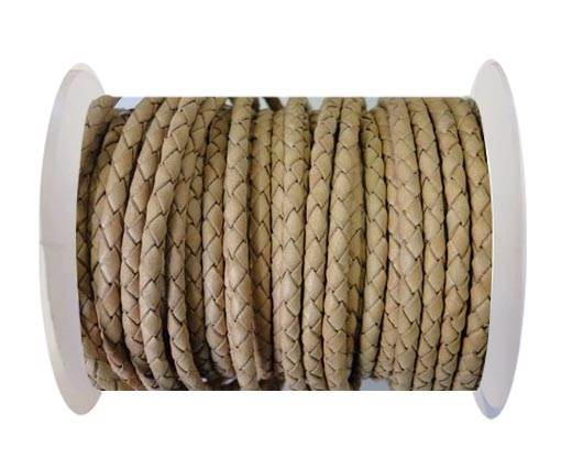 Round Braided Leather Cord SE/B/01-Natural-8mm