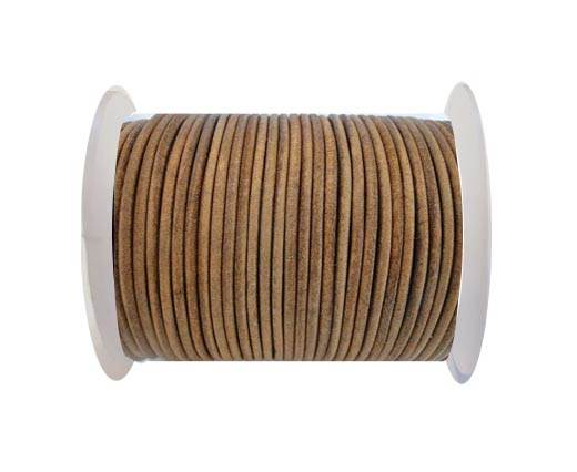 Round Leather Cord SE/R/Vintage Tan-2mm