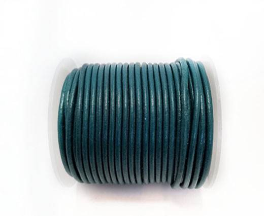 Round Leather Cord - 3mm - SEA BLUE