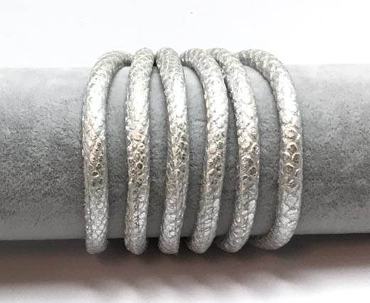 Real Round Nappa Leather cords 6mm- Snake style-Silver