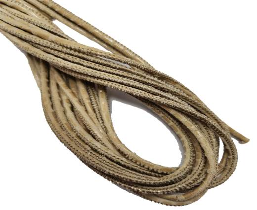Round Stitched Leather Cord - 3mm - SNAKE LIZARD STYLE BEIGE