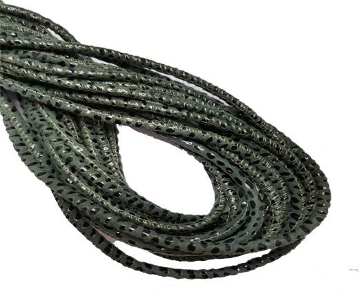 Round Stitched Leather Cord - 3mm - SNAKE STYLE - MILITARY GREEN