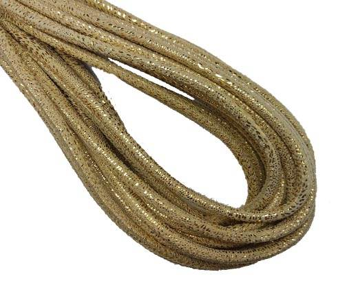 Round Stitched Nappa Leather Cord-4mm-snake style gold