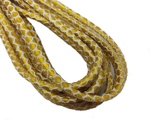 Round Stitched Nappa Leather Cord-4mm-snake style gold white