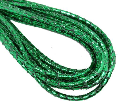 Round Stitched Nappa Leather Cord-4mm-snake style green shiny