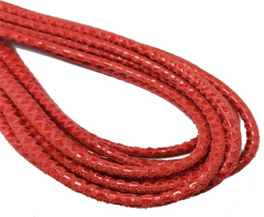 Round Stitched Nappa Leather Cord-4mm-snake style red