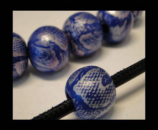 Snake Wooden Beads- Dark Blue -16mm,Hole 6mm