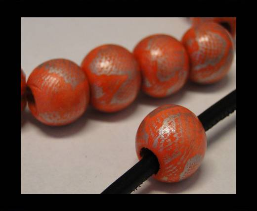 Buy Snake Wooden Beads- Pink -16mm,Hole 6mm at wholesale prices